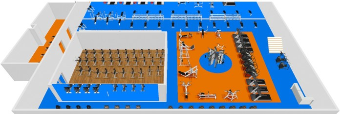 a 3d CAD drawing of a gym floor plan