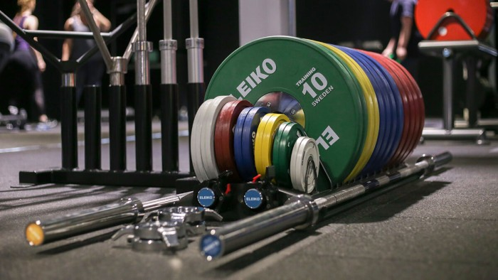 a set of eleiko gym weights