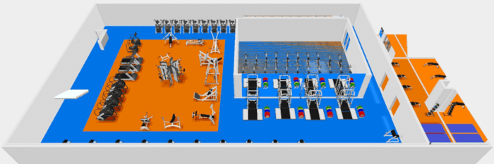 a 3d conceptual drawing of a gym exercise area