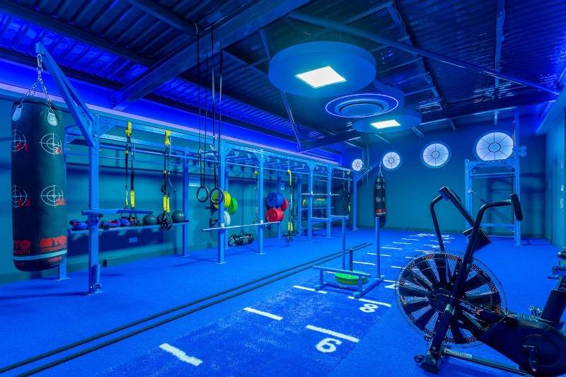 functional exercise area in blue