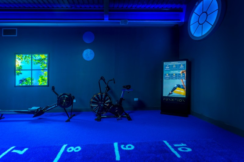 a blue room with a cycling machine