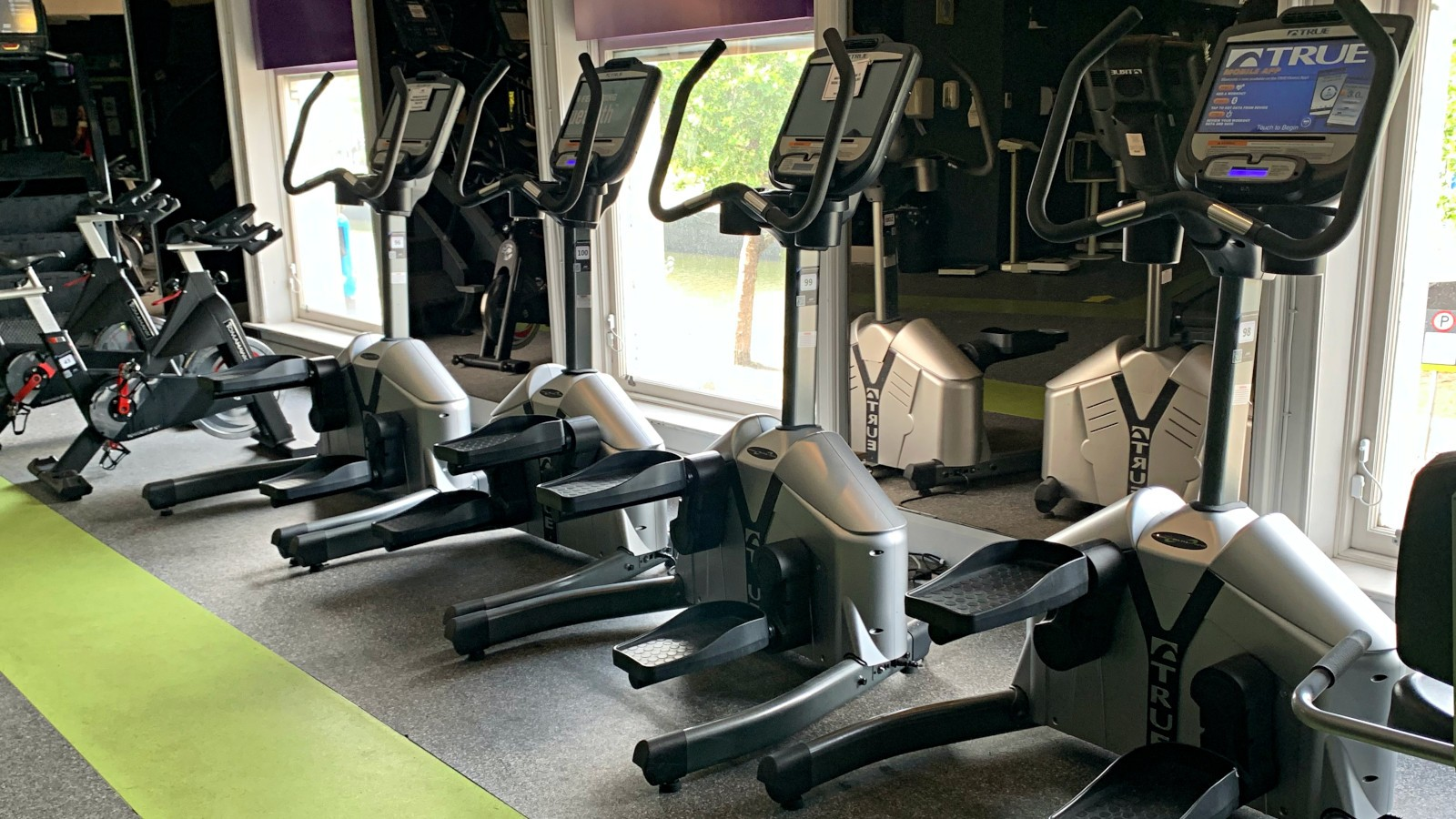 stepper machines on the gym floor